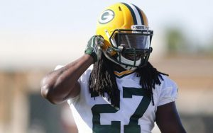 packers27 - Eddie Lacy (27) during the first day of Green Bay Packers Training Camp at Nitschke Field in Green Bay, Wisconsin on Tuesday, July 26, 2016. CALVIN MATTHEIS/calvin.mattheis@jrn.com
